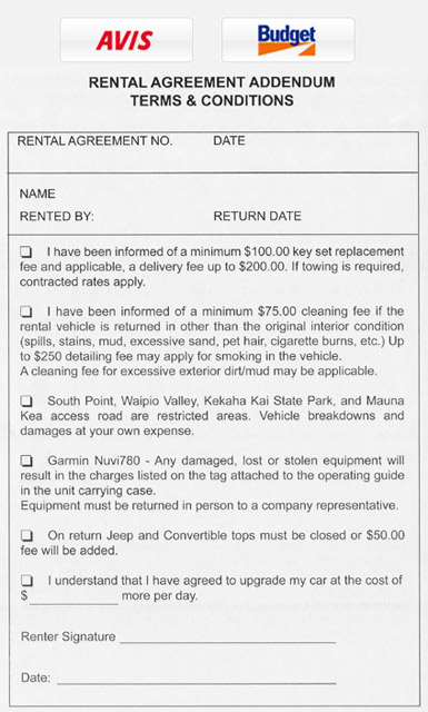 Avis Car Hire Rental Agreement
