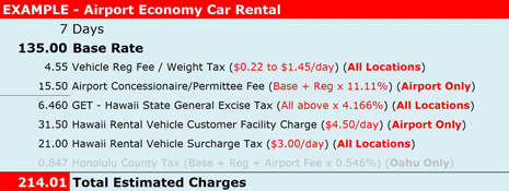 Example - Airport economy car rental reservation total charges