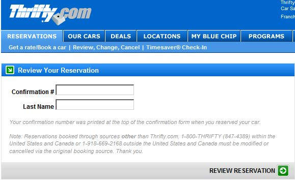 Review Your Thrifty Hawaii Car Rental Reservation